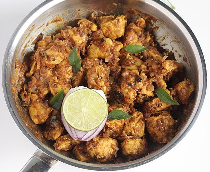 South Indian Simple Pepper Chicken Fry Spicy Dry