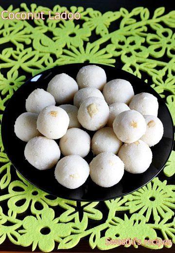 Coconut ladoo recipe | How to make coconut ladoo (laddu) | Nariyal ladoo