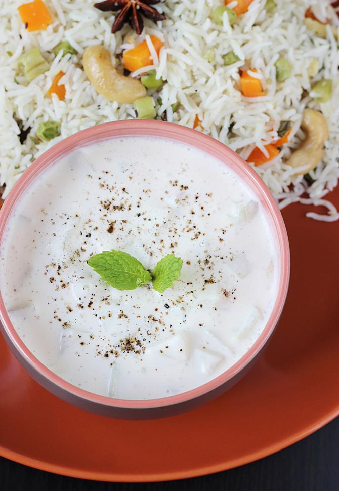Cucumber raita recipe how to make cucumber raita for biryani pulao cucumber raita recipe raita forumfinder Image collections