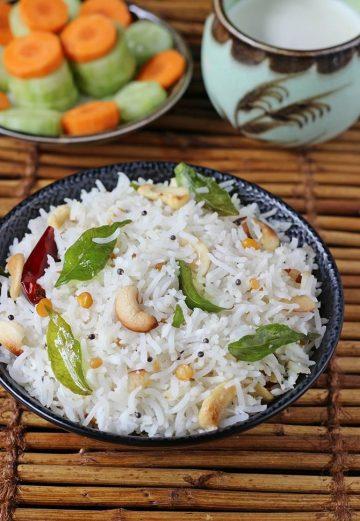 Coconut rice recipe   South Indian coconut rice recipe   Tengai sadam