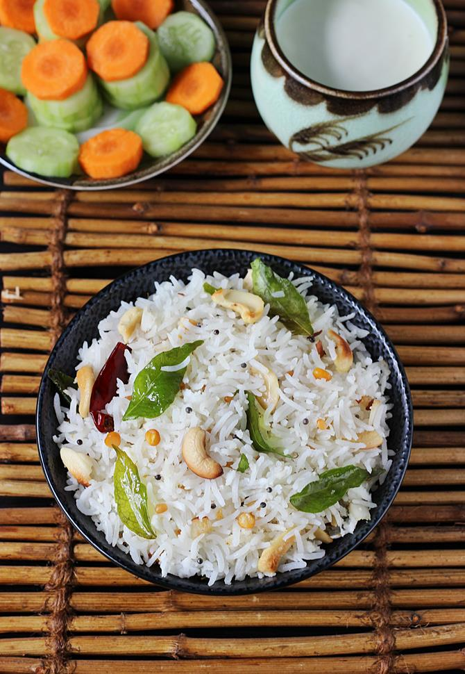 coconut rice recipe swasthis recipes