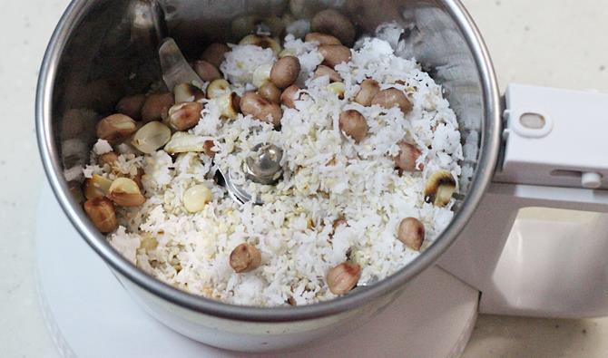 cooling peanuts for bagara baingan