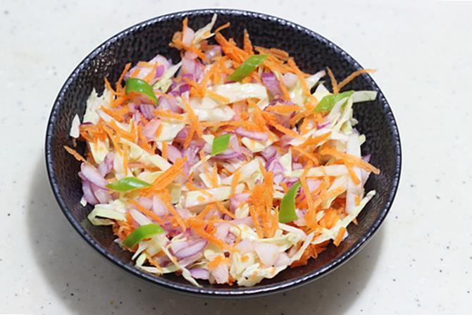 Tossing Veggies For Egg Salad Recipe