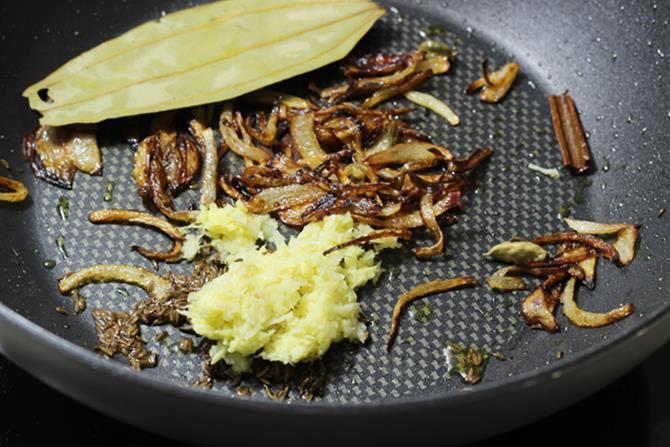 addition of ginger garlic for fish biryani recipe