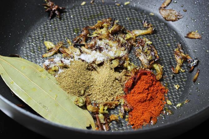 addition of spice powders for fish biryani recipe