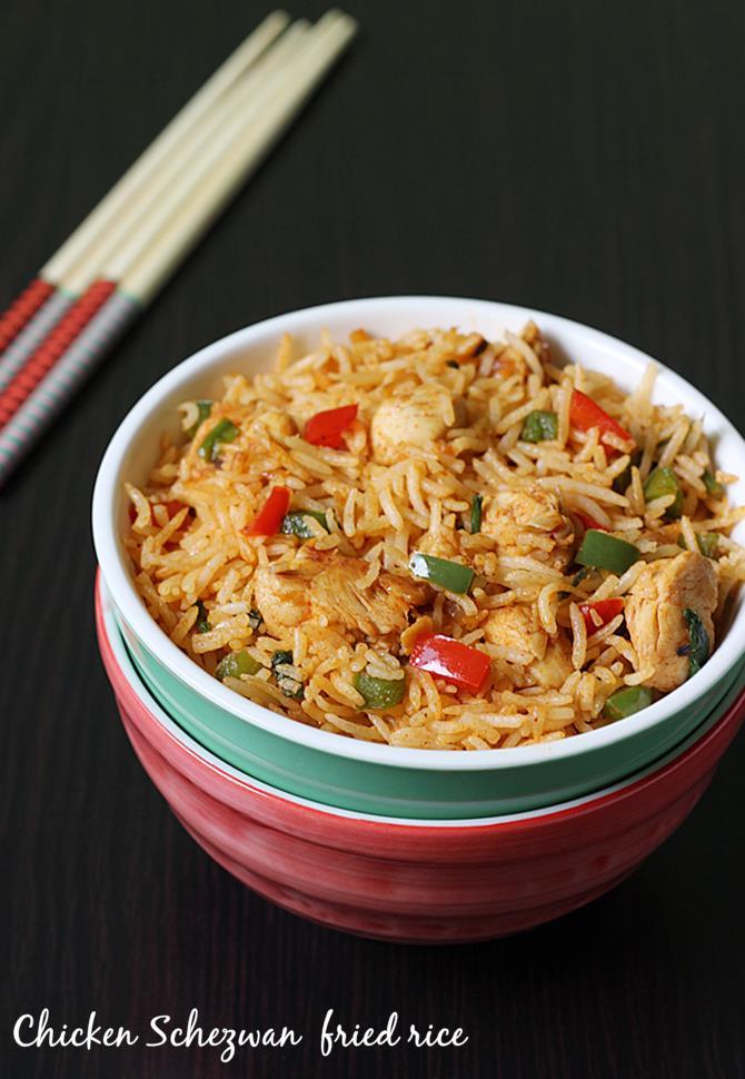 Schezwan chicken fried rice recipe spicy chicken fried rice schezwan chicken fried rice recipe swasthis recipes forumfinder Choice Image