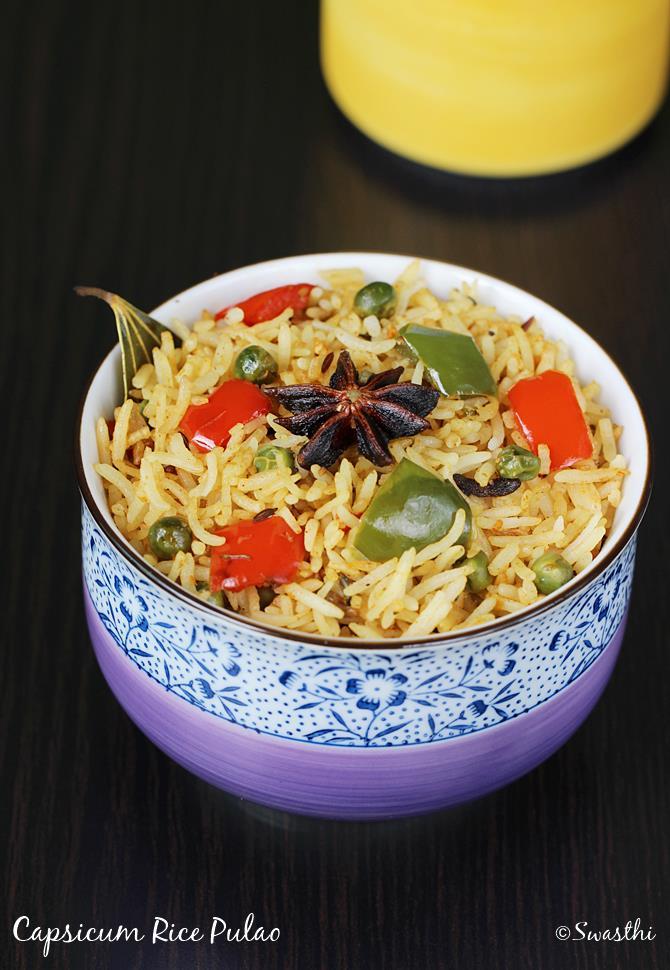 garnished capsicum pulao recipe swasthis recipes