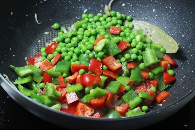 addition of green peas in capsicum rice recipe
