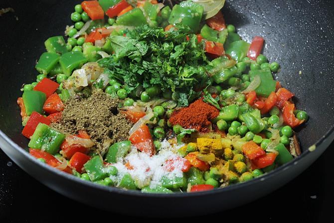 addition of salt chilli powder in capsicum rice recipe