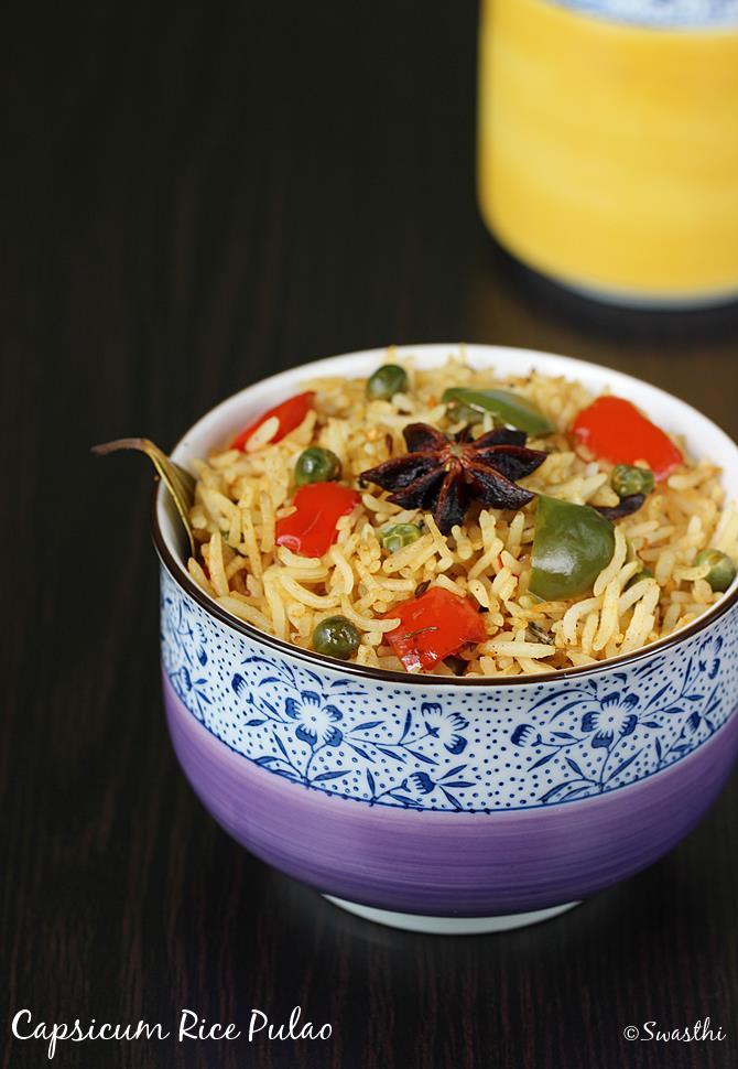 capsicum rice recipe swasthis recipes
