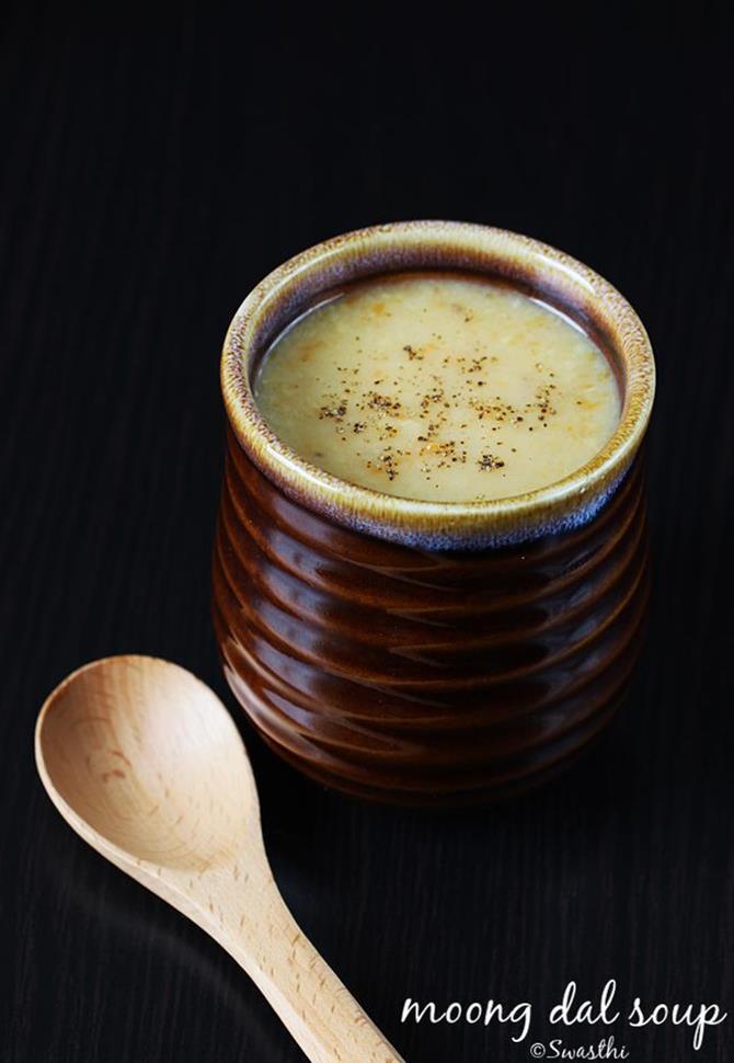 garnished moong dal soup