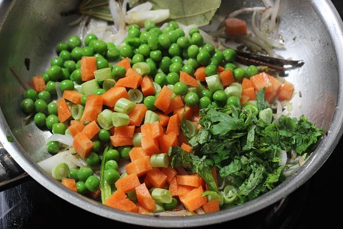 addition of veggies for semiya biryani recipe