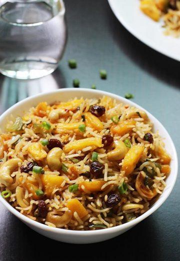 Pineapple fried rice recipe   Vegetarian thai pineapple fried rice recipe