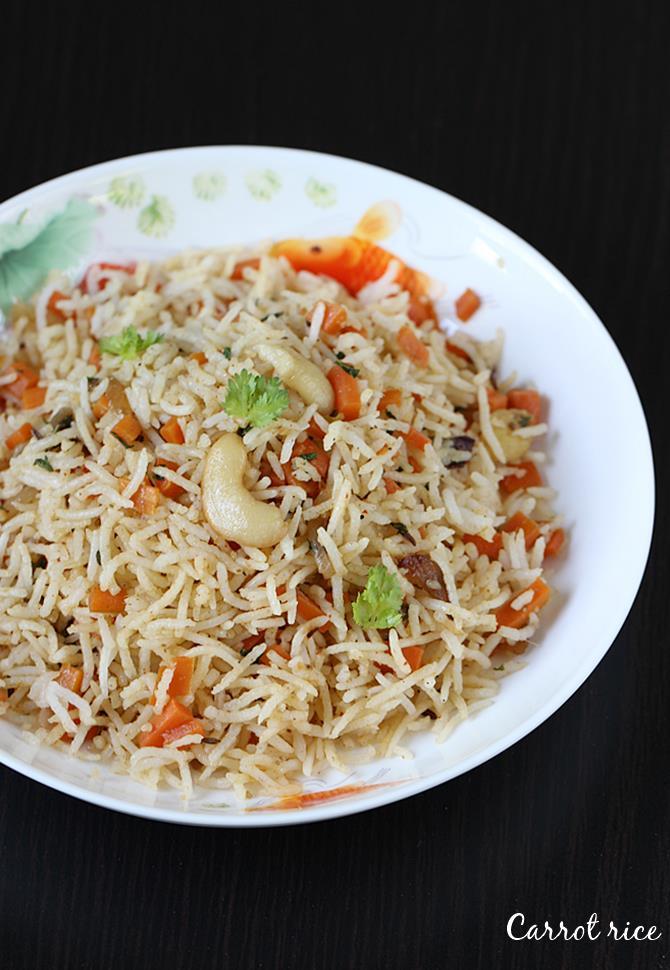 carrot rice recipe swasthis recipes