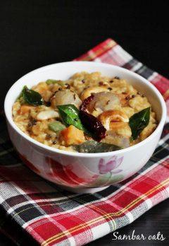 Oats bisi bele bath recipe   Sambar oats recipe