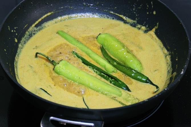 addition of chillis to make biryani salan