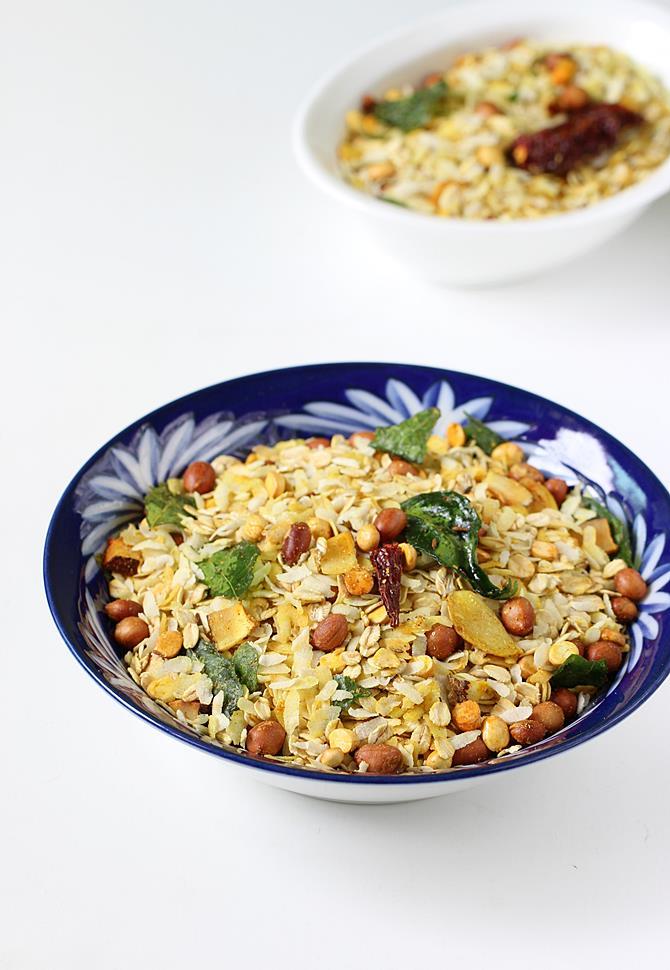 oats chivda recipe swasthi