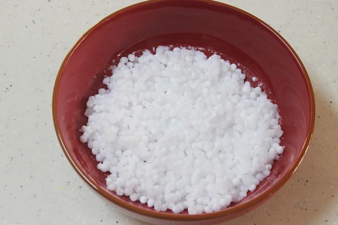 doubled sago after soaking to make sabudana vada