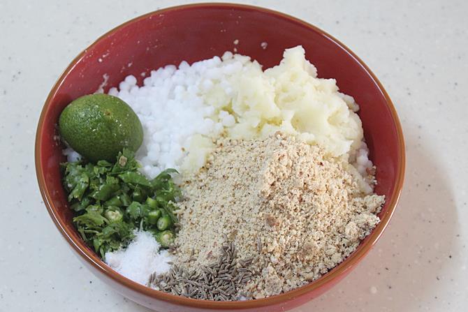 making the dough to make sabudana vada recipe