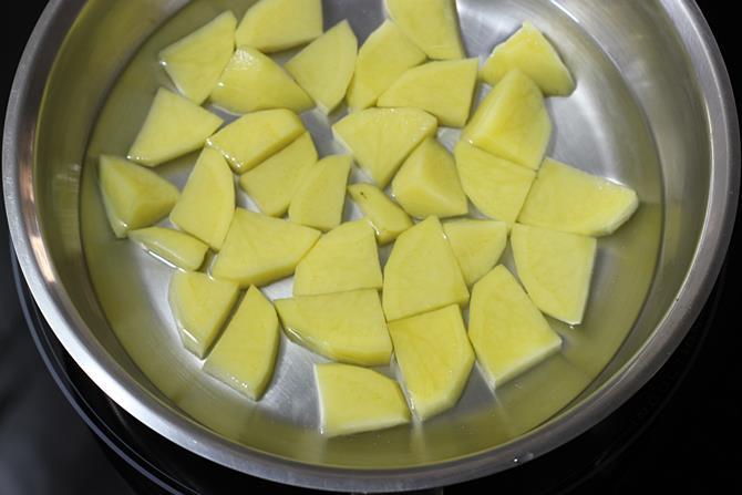 boiling aloo to make potato corn cutlet