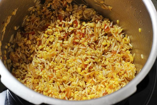 sauteing rice dal
