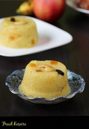 fruit kesari recipe   mixed fruit sheera recipe