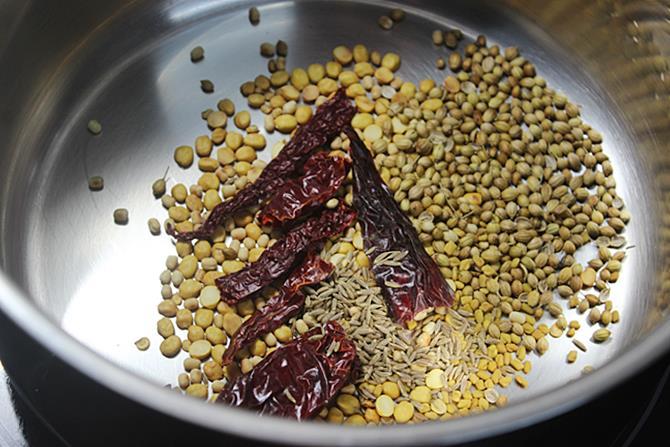 roasting coriander seeds for sambar powder