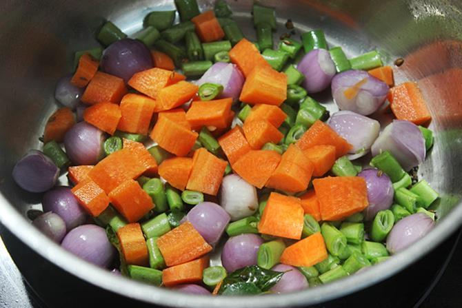 sauteing veggies in idli sambar recipe