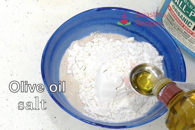 addition of oil salt to make dough