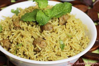 Soya chunks biryani recipe | meal maker biryani recipe | soya biryani