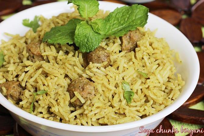 soya chunks biryani swasthis recipes