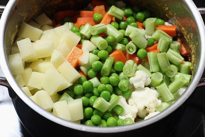 adding chopped veggies