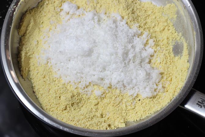 frying coconut to make barfi