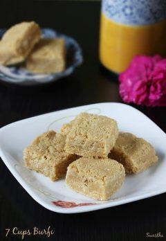 7 cups burfi recipe | Easy burfi recipe with besan | how to make barfi recipe