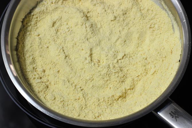 frying besan to make barfi