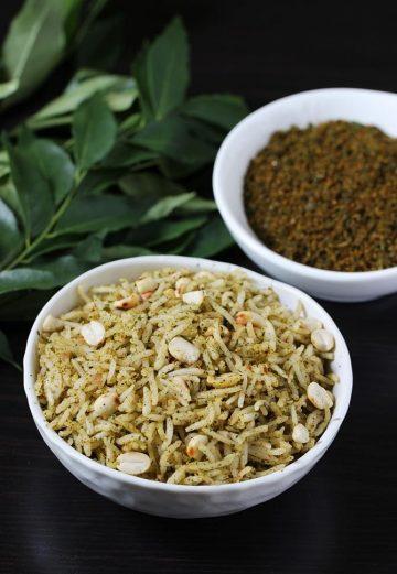Karivepaku podi   Curry leaves powder recipe   Curry leaves rice