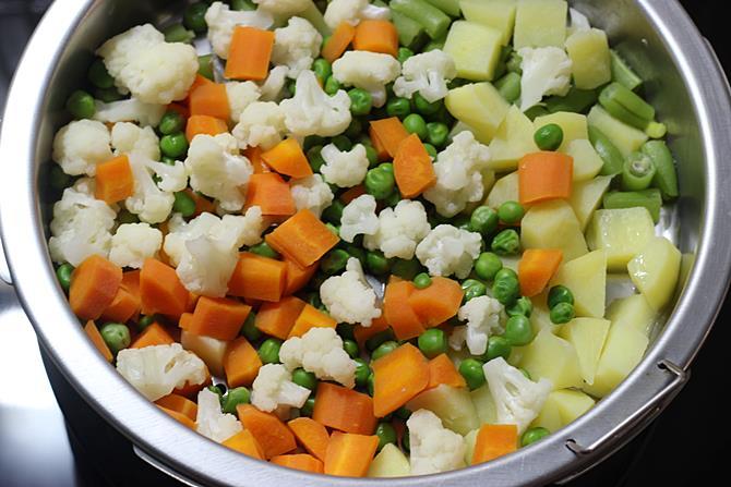 steam veggies for navratan korma recipe
