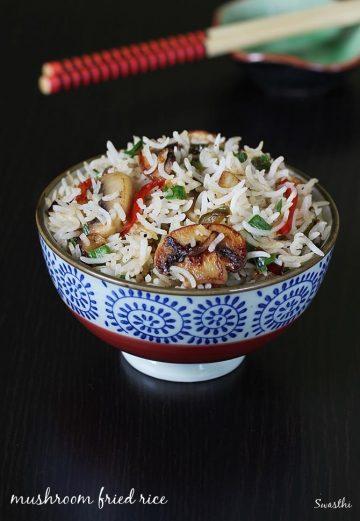 Mushroom fried rice recipe   Mushroom rice recipe