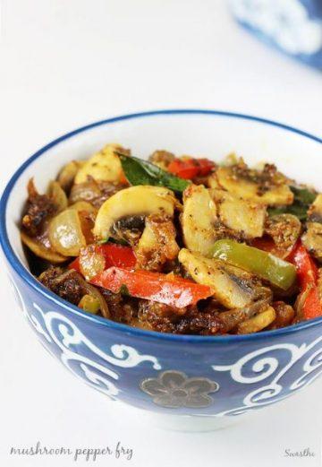 Mushroom pepper fry recipe | Easy capsicum mushroom recipe
