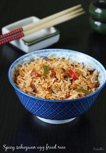 Spicy egg fried rice recipe | Schezwan egg fried rice recipe