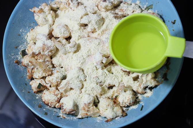 water to make dough for cauliflower pakoda