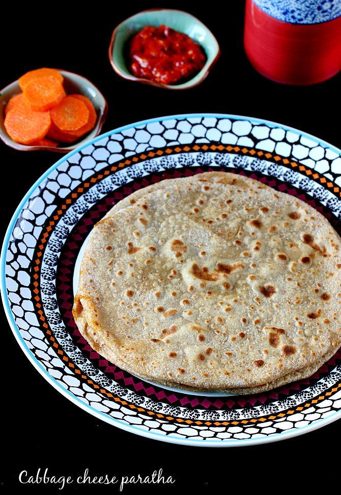 cabbage cheese paratha swasthi