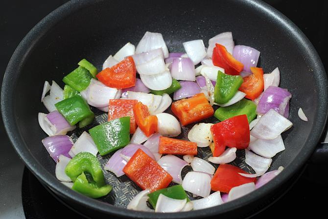 frying capsicum