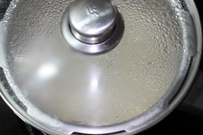 simmering mushroom soup in a pot