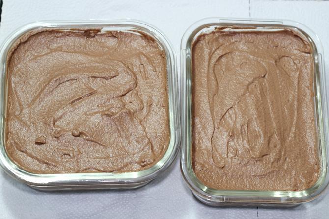 freezing chocolate ice cream until set