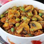 matar mushroom recipe   easy mushroom curry recipe