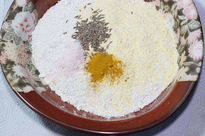 addition of besan cumin to make chilla recipe