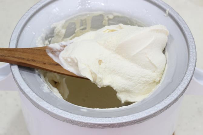 churned pistachio ice cream