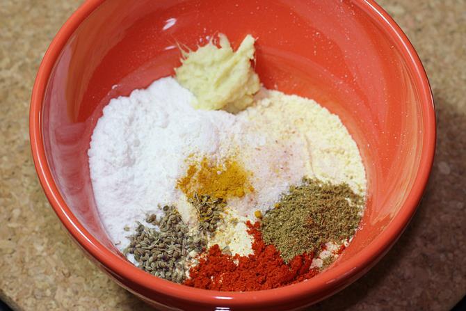 flour spices for soya pakora recipe