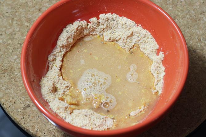 addition of water to make soya pakora recipe